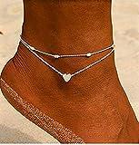 Damen Fußkette mit Herz in Silber | Frauen Schmuck aus Edelstahl | Mehrreihige Fußkettchen auch...