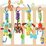 Evance Baby Spielzeug 4 Packs Kinderwagen Spielzeug Kinderbett Anhänge Cartoon Tier hängen Rassel...