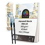 OfficeTree Aquarellblock A3 300g 40 Blatt - Aquarellpapier Weiß – Zeichenblock A3 für...