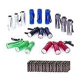 EverBrite 18er Mini Aluminium LED Taschenlampe Set mit Umhängeband und Batterien,ideal für...