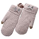 Winterhandschuhe Winter Gloves Wollstricken Finger-Touchscreen Plus Samtverdickung Warm Halten Damen...