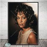 SQSHBBC Schwarz Wei Whitney Houston Poster Musik Star Leinwand Malerei Poster und Drucke Wandkunst...