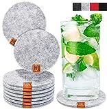 Miqio Design Glasuntersetzer - Filz und Leder - Waschbar - 10er Set Getränke Untersetzer mit...