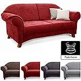 Cavadore 2-Sitzer Sofa Maifayr mit Federkern / Moderne 2-sitzige Couch im Landhausstil mit Holzfen /...