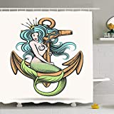 Shower Curtain Set With Hooks 60x72 Rusty Sign Beauty Isolated Sitting Blue Haired Siren Mermaid...