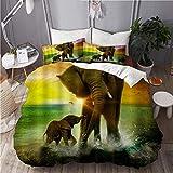 SUHOM Bettwsche-Set,Mikrofaser,Tierthema Safari Art Africa Elefant und Baby Spielen im Ozean bei...