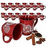 HUIJK 36er Set Glühweinbecher rot 0,2L geeicht Tassen Glühweintasse Becher Weihnachten