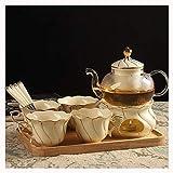 Campingkessel, Teekanne Teeset Aus Klarem Glas Mit Aufgussporzellan 4 Kleine Glas-Teetassen Und...