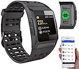 newgen medicals Fitnesstracker mit GPS: GPS-Sportuhr, Bluetooth, Fitness, Puls, Nachrichten,...