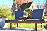 Outzone BremsDich, verwandelbare Holzgartenbank zum Liegen und Sitzen, mit aufklappbarem Tisch für...