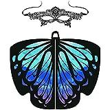 Frashing Damen Schmetterling Kostüm Schmetterlingsflügel und Spitze Maske Zweiteilig Butterfly...