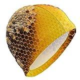 BOLIMAO Badekappe mit Bienenwaben und Bienen, für Herren, hohe Elastizität, für Damen,...