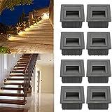 SUBOSI LED Treppenlicht Aluminium 230V 3W Glas Wandleuchten Treppenlicht mit Unterputzdose...