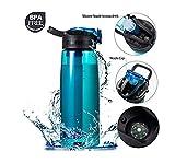 Etmury Wasserfilterflasche, Wasserflasche mit 2-stufiger Filtration Entfernt Bakterien und...