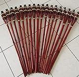 Hillfield® 18 x Gartenfackel Mahagoni Bambus Bambusfackel Garten Fackel mit Sturmverschluss...