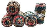5 x 100 Gramm Alize Burcum Batik Wolle mehrfarbig mit Farbverlauf, 500 Gramm Strickwolle (grau beige...