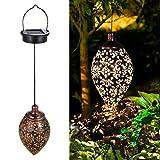 Tomshine Garten Laterne, Dekorative Solarlampe Hängend, Metall LED Solar Laterne für Draussen Baum...