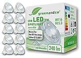 10x greenandco® LED Spot ersetzt 25 Watt MR16 GU5.3 Halogenstrahler, 3W 240 Lumen 2700K warmweiß...