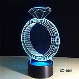 Nur 1 Stück Diamond Ring 3D Lampe 7 Farben Remote Touch Nachtlicht für Kinder Holiday Illusion...
