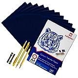 100 Blatt blaues Kohle Transferpapier Graphitpapier mit Prägestift-Set und Druckbleistift für...