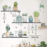 Sayopin Wandtattoo, Topfpflanze Wandsticker als Wanddekoration für Schlafzimmer Wohnzimmer...