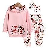 trudge 3 Stück Babykleidung Set Neugeborenes Kleinkind Baby Mädchen Langarm Floral Hoodie...
