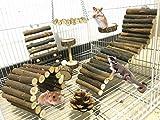 Lurowo 8 Stück Hamster Kauspielzeug Natürliche Holz Kauen Spielzeug,Hanteln,Hängebrücke,Living...