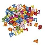 zhibeisai 100pcs Holzbuchstaben DIY mit Löchern 26 Multicolor Englisch Alphabet Kids Early...