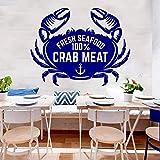 Krabben Wandtattoo 100% Krabbenfleisch Meeresfrüchte Markt Restaurant Kochen Küche Esszimmer...