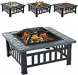 HIGHKAS 3-in-1-Feuerstelle für Grill, Heizung, Eiswürfel, großer Feuertisch mit BBQ-Grillablage,...