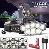 FGBFDG USB Wiederaufladbare Scheinwerfer Super Bright Scheinwerfer 2 * T6 + 5 * Q5 + 1 * COB LED...