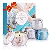 Duftkerze Set, Muttertag Geschenk Eleanore's Diary Natürliches Sojawachs Kerzen Set (4 Pack), Aroma...