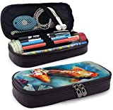 Koi Fish Large Capacity Leather Pencil Case Durable Zipper Student Pouch Bag Pencil Box For Work...