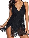 MXZBHRetro Strandbadebekleidung, Damenform einteiliges Bikinikleid plus Größe Badebekleidung und...