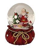 Geschenkestadl Spieluhr Schneekugel Ø 11 cm x 15 cm Weihnachten Weihnachtsmann Spieldose