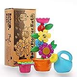 OleOletOy Baby Badespielzeug Set - Süße Blume Wassermühle und 4 STK. Stapelbecher - Kinder BPA...
