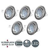 LED Einbaustrahler ultra flach - warmweiß - inkl. 5x 5W Modul 230V 400LM - Schwenkbar...