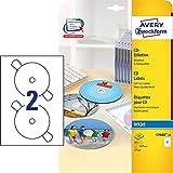 AVERY Zweckform C9660-25 selbstklebende CD-Etiketten (50 blickdichte CD-Aufkleber, Ø 117mm auf A4,...