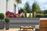 HT Balkonsichtschutz Balkonverkleidung grau-gestreift 24 m Kordel Maße: 6 x 0,9 m Polyester