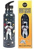 Fringoo - Astronaut Kinder Trinkflasche mit Strohhalm - große BPA freie Trinkflaschen - isolierte...