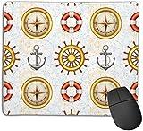 Gaming Mouse Pad Benutzerdefiniert für Heim und Büro, Marine Symbole mit Lenkrad Anker...