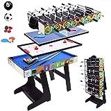 Fußballtisch mit Zubehör Aufbewahrungsbox, 4 in Sportspieltisch, Lufthockeytisch, Tischtennistisch...