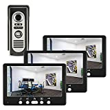 DYWLQ Video-Türsprechanlage Türklingelanlage, Türsprechanlage mit 7-Zoll-3-Monitor-1-Kamera,...