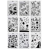 Sinblue 9 Stück Schablonen Kunststoff, Zeichnungs Schablonen Set, Motiv Tiere (Insekten, Vögel,...