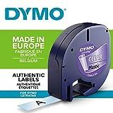 Dymo Authentisch Kunststoffetiketten LetraTag, 12 mm x 4 m, schwarz auf transparent, für Dymo...