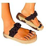 Sommer Frauen Blume Flache Sandale Lässig Open Toe Strandschuhe für Dame Outdoor Flip-Flops...