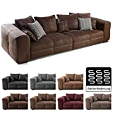 Cavadore Big Sofa Mavericco / Große Polster Couch mit Mikrofaser-Bezug in antiker Lederoptik /...