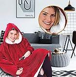 TV Blanket Wearable Winter Warm Fleece Übergroße Kapuze Pyjamas Bademantel Lange Pullover Mit...