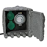 Kopp Energiestation Stein-Optik mit 2 Schutzkontakt-Steckdosen 230 V & Zeitschaltuhr I...