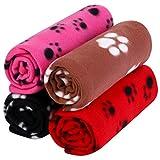 Aodaer 4 Stück Haustierdecken mit Pfotenabdrücken Haustierkissen Tierdecke Welpen-Hundedecke für...